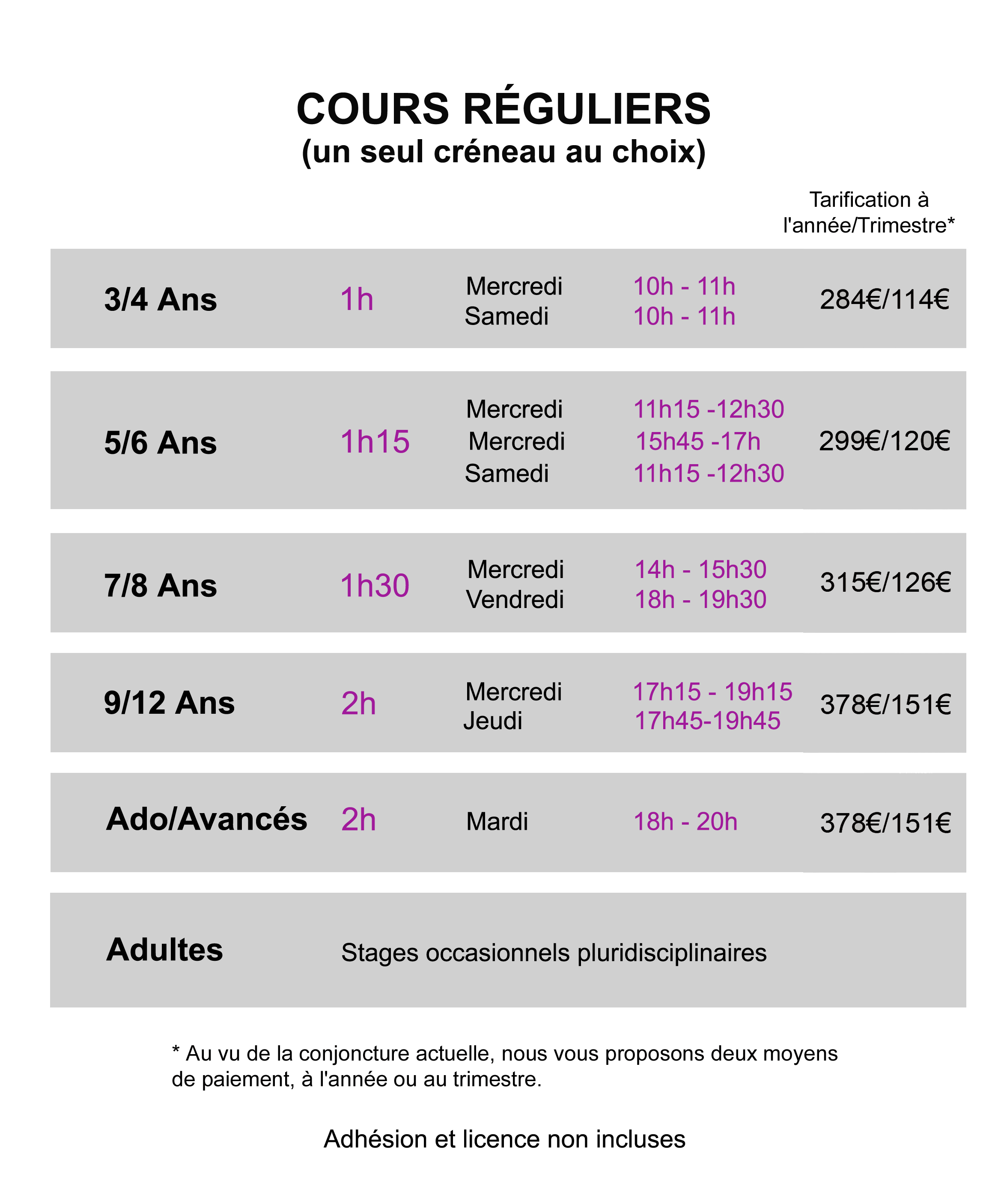 horaires tarifs cours hebdomadaires fortiches1